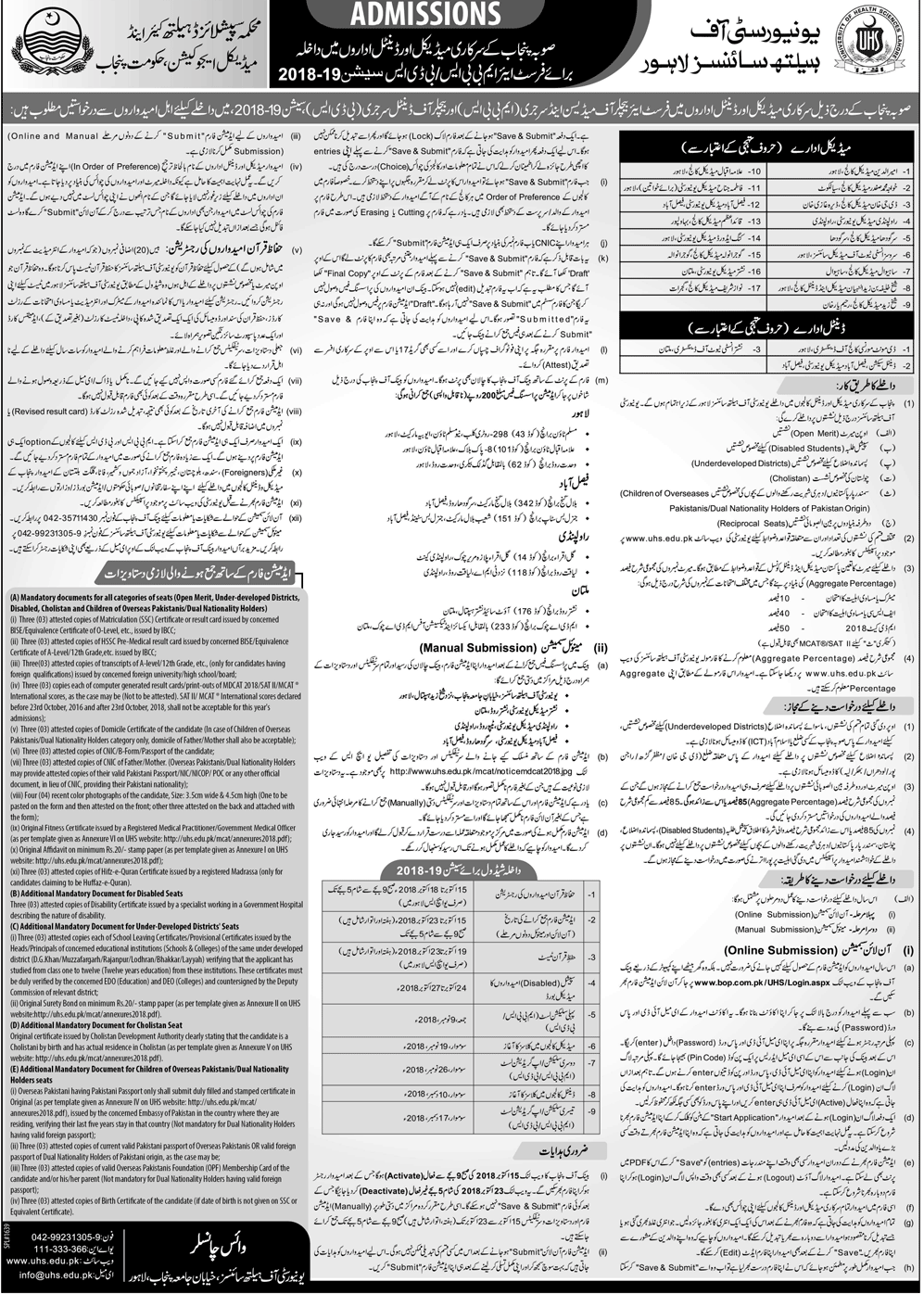 UHS Lahore MBBS & BDS Admission 2018 in Govt Medical Colleges