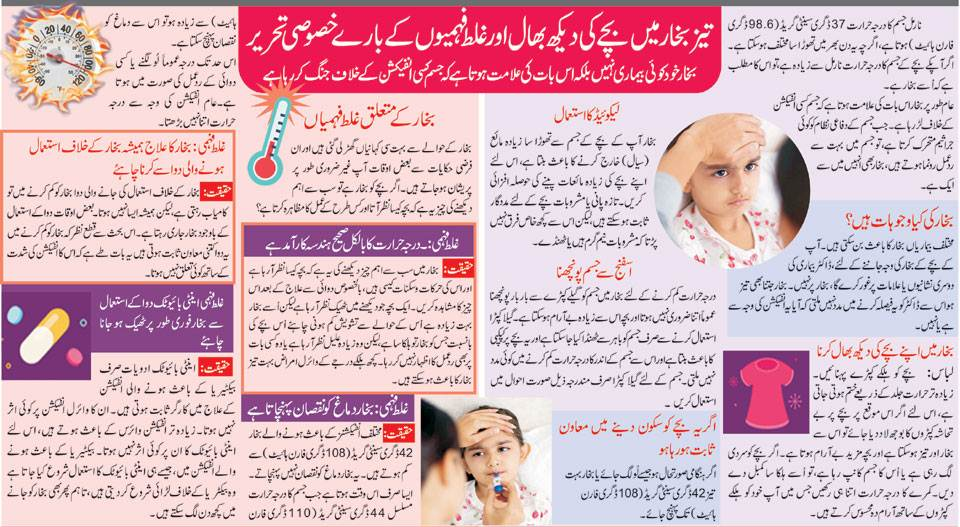 Health Tips About Baby Fever in Urdu & English