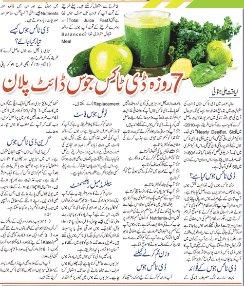 One Week Detox Juice Diet Plan (Urdu-English)
