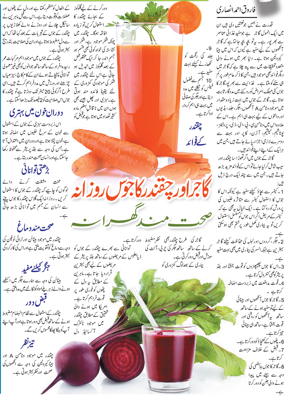 Health Benefits of Carrot & Beet Juice (Urdu-English)